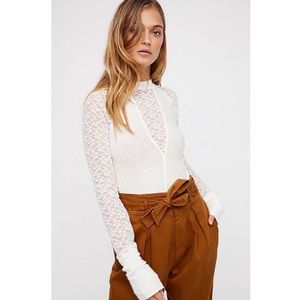 Free People No Limits Lace Layering Tee Cream S